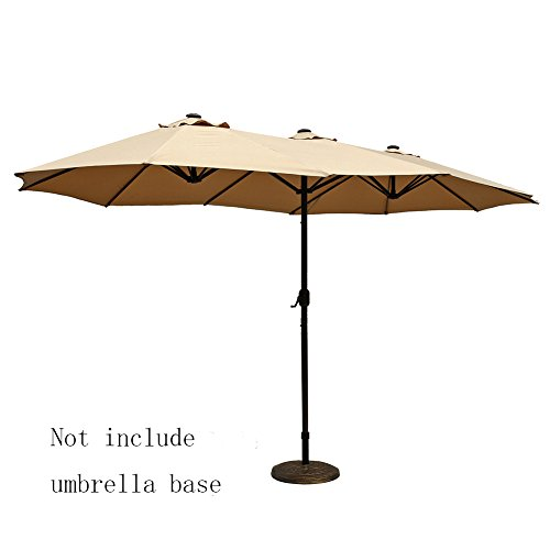 Le Papillon 14 ft Outdoor Umbrella Double-Sided Aluminum Market Patio Umbrella with Crank, Beige