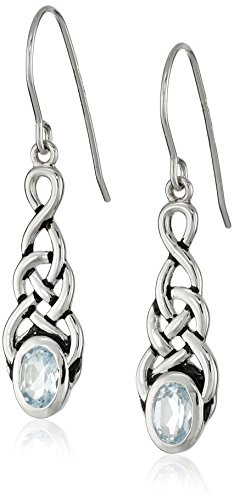 Sterling Silver Genuine Blue Topaz Celtic Knot Linear Drop Earrings