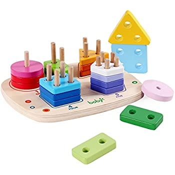 Rolimate Wooden Educational Shape Color Recognition Geometric Board Block Stack Sort Chunky Puzzle Toys Birthday Gift Toy For Age 3 4 5 Years Old And Up