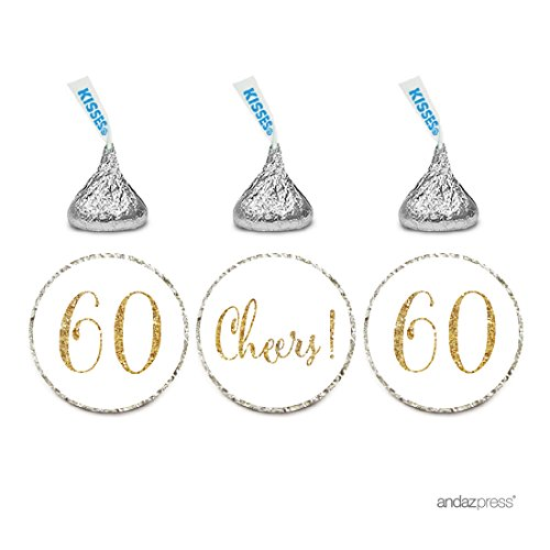 Birthday Anniversary 60th (Andaz Press Gold Glitter Print Chocolate Drop Labels Stickers, Cheers 60, Happy 60th Birthday, Anniversary, Reunion, White, 216-Pack, Not Real Glitter, For Hershey's Kisses Party Favors)