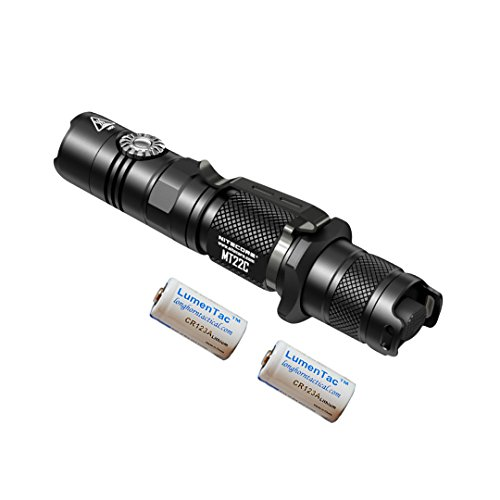 NITECORE MT22C 1000 Lumen Infinitely Variable Brightness Rotary Switch Compact Tactical LED Flashlight with 2x Lumen Tactical CR123A Batteries