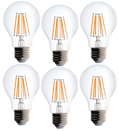 Bioluz LED Clear Edison Style Dimmable Filament, Light Bulb, 60 watt, Soft White (Pack of 6)