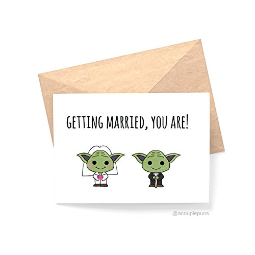 Yoda Wedding// Funny engagement Card, engagement card for friend, starwars engagement card, Engagement Congrats