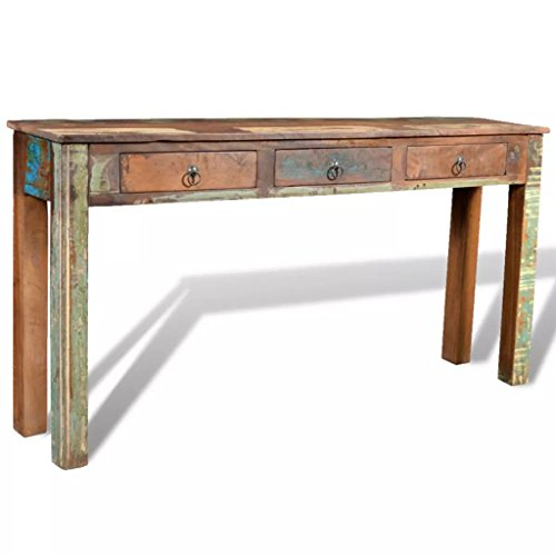 Festnight Rustic Console Table with 3 Storage Drawers Reclaimed Wood Sideboard Handmade Entryway Living Room Home Furniture 60