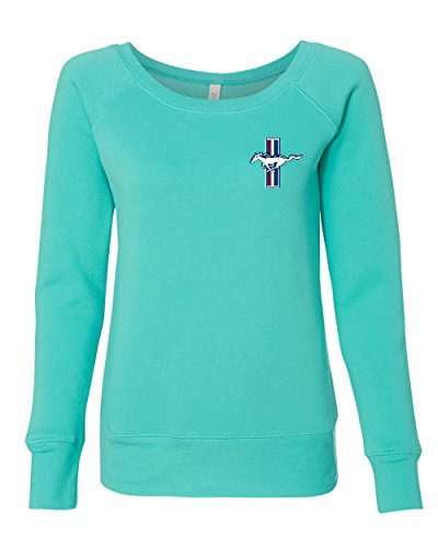 Ford Mustand The Legend Lives Logo Women's Sweatshirt Classic Muscle Cars Teal L ()
