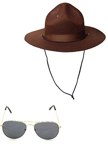 Nicky Bigs Novelties Super State Highway Patrol Trooper Mountie Hat Aviators Costume - Sunglasses Patrol Highway
