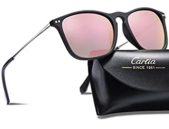 Carfia Vintage Polarized Sunglasses for Men, 100% UV400 Protection (Pink Mirror)