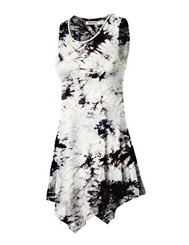 (WT1065 Womens Sleeveless Tie-Dye Tunic Tank Top XL WHITE_BLACK )