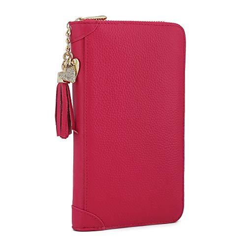 Red Heart Wallet - SafeCard Women's Credit Card Case Wallet 2 ID Window and Zipper Card Holder Purse (60 Card Rose red)
