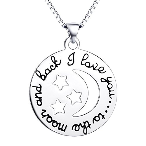 Sterling Silver I Love You To The Moon and Back Necklace Star Smile Emoji Costumes Jewelry for (Bestfriend Costumes)