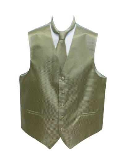 Men's Pistachio Horizontal Striped Jacquard Suit Vest and Neck Tie Set - Mens Jacquard Vest
