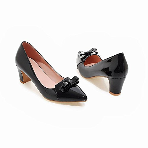 Latasa Womens Cute Bow Pointed Toe Chunky Pumps Black wS0AJZGWa