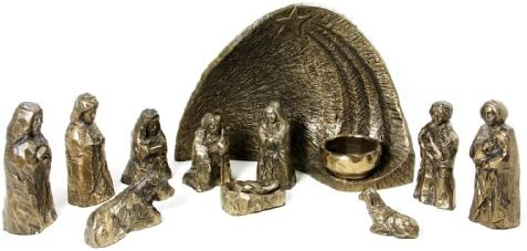 Wild Goose Studio Nativity Set Irish 12 Piece Resin Cast Bronze Coated Long Lasting 10 Inches by 6 3 4 Inches Background Made in Ireland