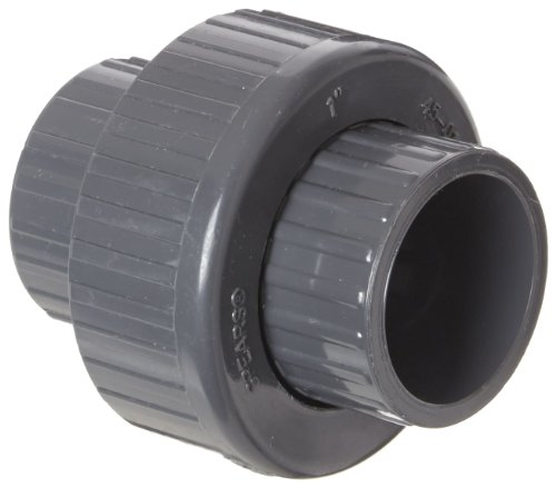 Spears 457-G Series PVC Pipe Fitting, Union with Buna O-Ring, Schedule 40, Gray, 1