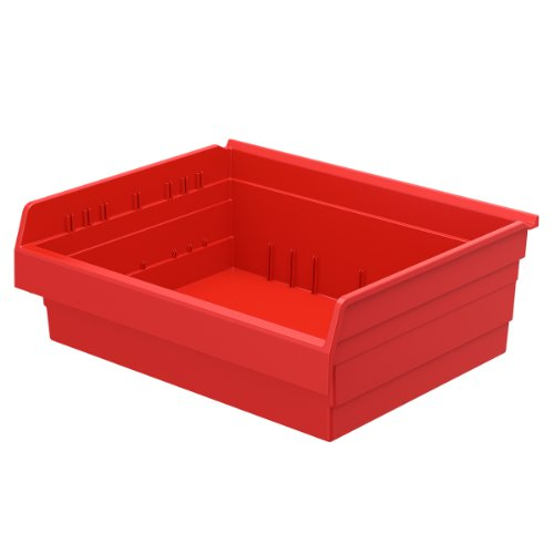 Akro-Mils 30828 ShelfMax 8 Plastic Nesting Shelf Bin Box, 18-Inch x 22-Inch x 8-Inch, Red, 4-Pack by Akro-Mils