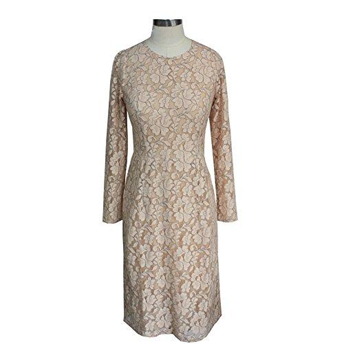 White Round A Dresses Line Lace Off Dress Sleeve Women's Slim Fit Neck cotyledon Long Short nq6Ix6aZ