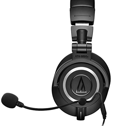 (Audio-Technica ATH-M50x Closed Back Dynamic Headphones Bundle with Antlion Audio ModMic 4 with Mute Switch, USB Audio Adapter, and Y Splitter for Audio, Mic )