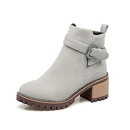 WIKAI Women's Boots Bootie Fall Winter Leatherette Casual Dress Buckle Zipper Chunky Heel Yellow Gray Black 2in-2 3/4in WKIDWX