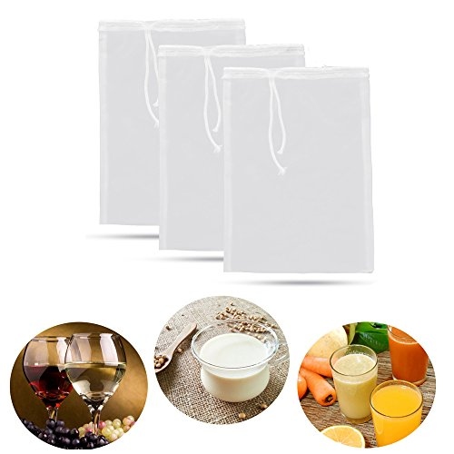 3Pcs 74 Micron Filter Bags Reusable Nylon Mesh Bag for Nut Milk/Tea/Juice 8