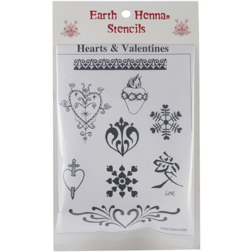 Earth Henna SPLS-VA Stencil Transfer Pack, Hearts and Valentines (Earth Tattoo Henna)