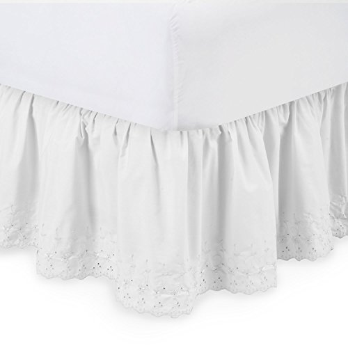 Full Dust Ruffle (Harmony Lane Eyelet Ruffled Bed Skirt - 14'' Drop, Full , White Dust Ruffle with Platform (Available in all Sizes))