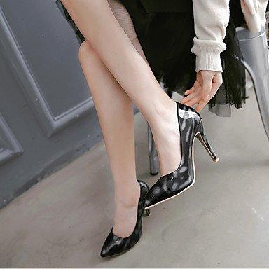 Talones de las mujeres Primavera Verano Otoño Club de cuero de los zapatos de patente de tacón de aguja Casual Negro Plata Rojo Blue