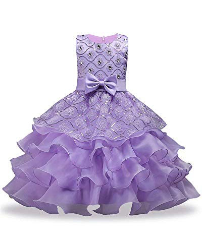 Big Dresses for Girls Size 7-16 for Wedding Formal Tulle Ball Gown Party Prom Princess Pageant Elegant Bridesmaid Dresses Girls 14-16 15 Years Age of 14 Teen Girl Children Gowns (Purple 170)