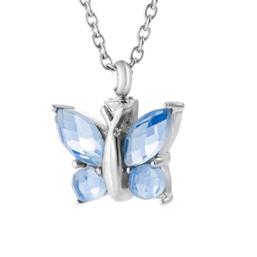 GIONO Cremation Urn Necklace for Ash Jewelry Butterfly Memorial Keepsake Sapphire Pendant Remains Locket
