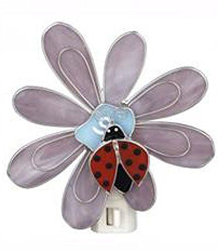 Lady Bug With Parted Wings On Purple Flower Night Light - By Ganz
