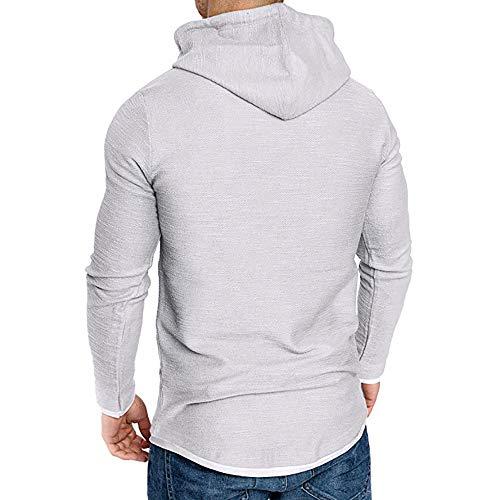 Overdose Poliestere Lunga Coulisse Camicette Caldo Kangaroo Maglione Maglietta Manica Tasca Uomo T Bianco Lunghe shirt Felpe Cappuccio Pullover Con pqUMVSz