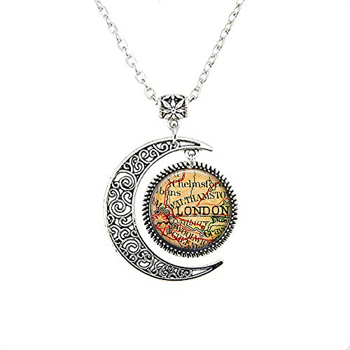 stap Vintage London Map Jewelry - London Pendant - London Souvenir - London England - British moon Necklace -
