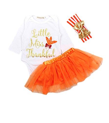 Dovee 3Pcs Baby Girls Thanksgiving White Long Sleeve Onesie Orange Tutu Stripe Headband Bodysuit (80-(6-9 months), Floral)