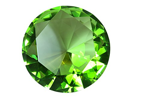 (100 mm Light Green Diamond Shaped Crystal Jewel Paperweight by Tripact - 04)