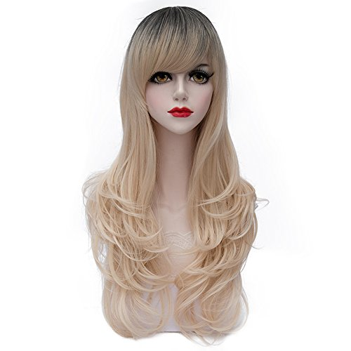 Costumes Wigs Online (TopWigy Women's Wig Long Wavy Wig Fashionable Lolita Costume Cosplay Synthetic Wig Light Gold Hair Wigs with Bangs+Wig Cap 28