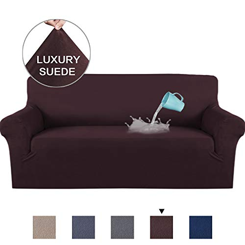 H.VERSAILTEX Luxurious Soft High Stretch Suede Sofa Slipcover Brown Couch Covers Velvet Plush Furniture Protector Machine Washable Sofa Covers, 3 Seater Sofa Size