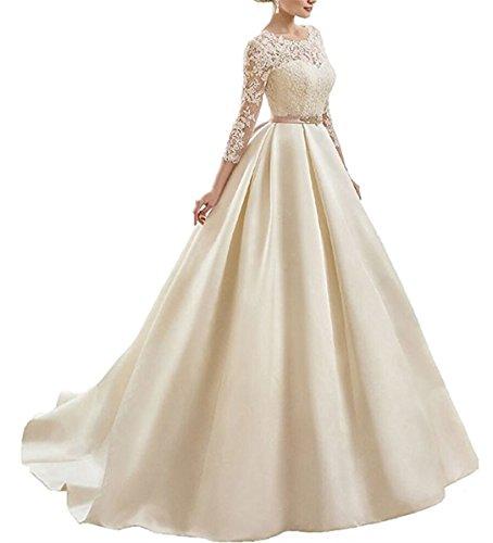 con de de de mangas Blanco V Cuello encaje la mujer novia novia vestidos cuello largas de XUYUDITA vestidos sat¨¦n HxpRY
