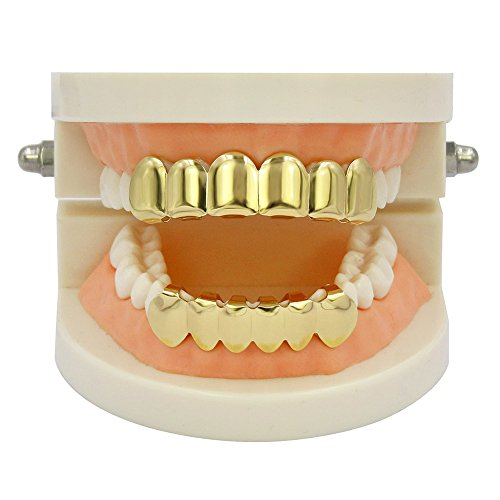 TOPGRILLZ 18K Gold Plated Hip Hop Custom Fit Top Bottom Teeth Grillz Caps 4 Silicon Molding Bars (2 Extra)