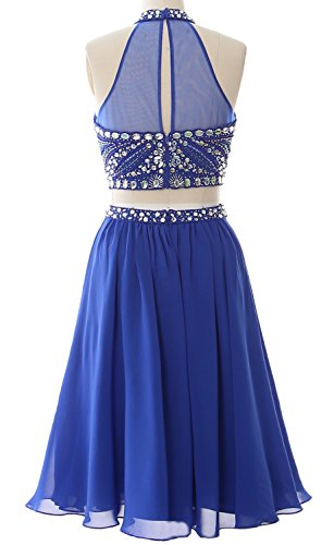 MACloth Women 2 Piece Prom Homecoming Dress Short Chiffon Cocktail Party Gown Azul Marino Oscuro
