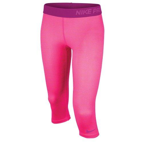 Nike Big Girls' (7-16) Dri-Fit Pro Graphic Training Capris-Pink-Medium