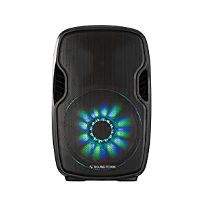"""Sound Town 12"""" 2-Way Portable PA Speaker with Built-in Rechargeable Battery, 2 Wireless Mics (Öpik-12PS)"""