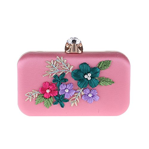 Evening Mesh Pink Womens Stud Hardbox Missfiona Bag Embroidered Clutch Formal Pearl Flower qwYxTPX