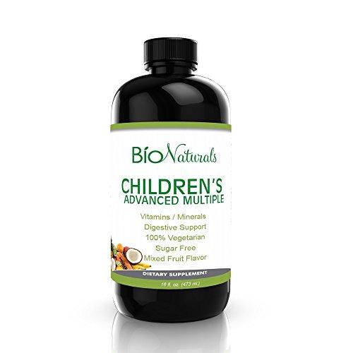 Les enfants de Multivitamine Liquide - 100% Naturel Toute la Nourriture Quotidienne d'un Supplément Et Immunitaire d'Appoint pour les Enfants w/ Vitamines A B C, D3, E, de Fruits Bio Et Extraits végétaux Et des Prébiotiques - sans Gluten - 16 fl oz