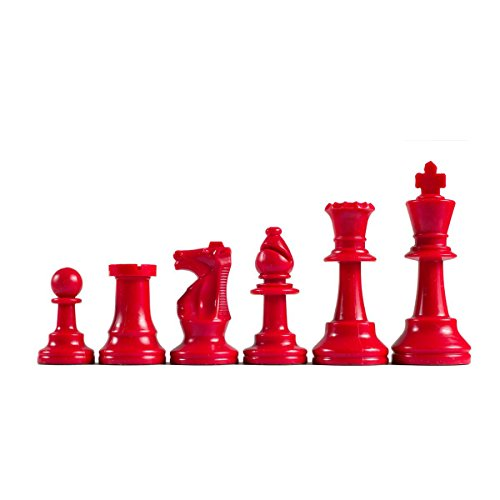 (WE Games Color-Bright Staunton Tournament Chess Pieces - Plastic with 3.75 inch King - Half Set Chessmen are Red)