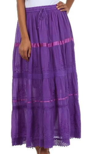 Sakkas 554 Solid Embroidered Gypsy/Bohemian Full/Maxi/Long Cotton Skirt - Purple/One Size (Embroidered Full Skirt)