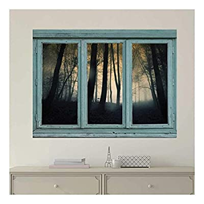 Dazzling Artisanship, Vintage Teal Window Looking Out Into a Foggy and Dark Forest Wall Mural, Quality Artwork
