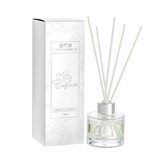 Creative Scents White Cashmere Essential Oil Reed Diffuser Sticks in Gift Box, Aromatherapy-Grade Oils Blend, Natural Scented Diffusing Kit, Non-Toxic Home Spa Fragrance Diffuser Set, 75 ML/2.5 Oz by Creative Scents
