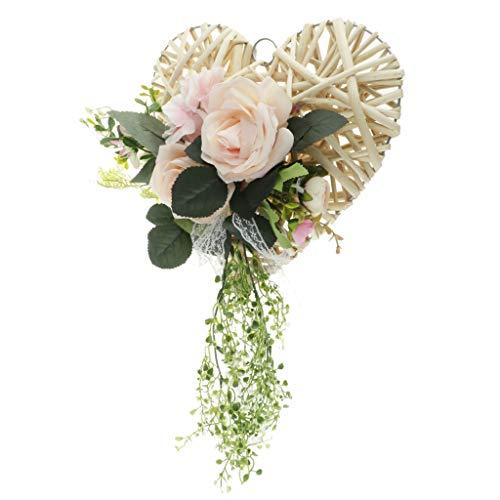 (Fenteer Shabby Chic Art Rattan Heart Simulation Silk Rose Flower Wreath Garland for Home Wedding Decor - Pink, 30cm)