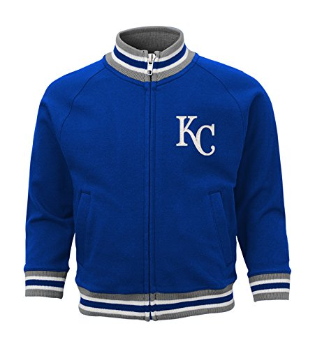 OuterStuff MLB Kansas City Royals Boys 4-7 Baseball Run Track Jacket-M (5-6), Deep Royal