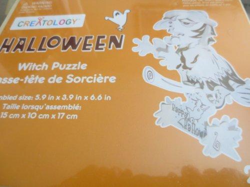 Halloween Wooden Witch Puzzle ... Casse-tete de Sorciere ... assembled size 5.9