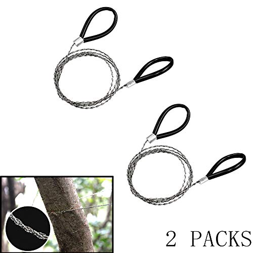 YOSMO Wire Saw, Pocket Stainless Steel Hand Saw, PVC Cable Saw, Rope Saw EDC Outdoor Emergency Camping Hiking Fishing Hunting Survival Chain Tool-2 Packs